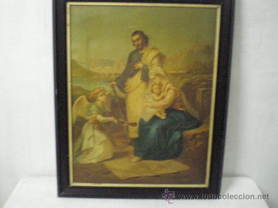 CUADRO RELIGIOSO SAGRADA FAMILIA (Arte - Láminas Antiguas)