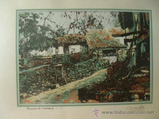 Arte: RINCONES DE CANTABRIA. 50 X 37.FIRMADA POR CHANETE ( LUCIANO GARCÍA ) TIRADA 50 EJEMPLARES. LEER. - Foto 2 - 27354714