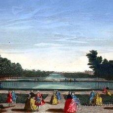 Arte: 1750C - JARDINES Y CANAL DE CHANTILLY - GRABADO ILUMINADO. Lote 26720691