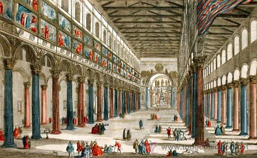 1750C - IGLESIA DE SAN PABLO DE ROMA - GRABADO ILUMINADO (Arte - Láminas Antiguas)