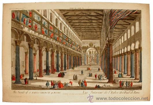 Arte: 1750c - IGLESIA DE SAN PABLO DE ROMA - Grabado Iluminado - Foto 3 - 26721370
