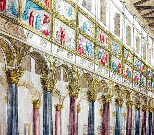 Arte: 1750c - IGLESIA DE SAN PABLO DE ROMA - Grabado Iluminado - Foto 2 - 26721370