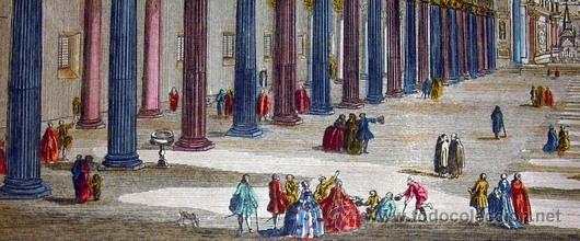 Arte: 1750c - IGLESIA DE SAN PABLO DE ROMA - Grabado Iluminado - Foto 5 - 26721370