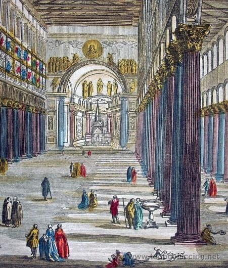 Arte: 1750c - IGLESIA DE SAN PABLO DE ROMA - Grabado Iluminado - Foto 4 - 26721370