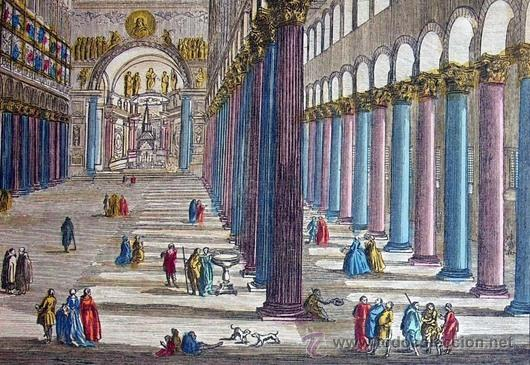 Arte: 1750c - IGLESIA DE SAN PABLO DE ROMA - Grabado Iluminado - Foto 6 - 26721370