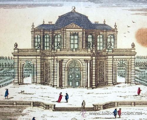 1750C - CASTILLO SAN ILDEFONSO DE MADRID - GRABADO ILUMINADO (Arte - Láminas Antiguas)