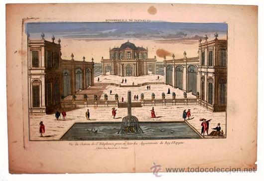 Arte: 1750c - CASTILLO SAN ILDEFONSO DE MADRID - Grabado Iluminado - Foto 4 - 26735700