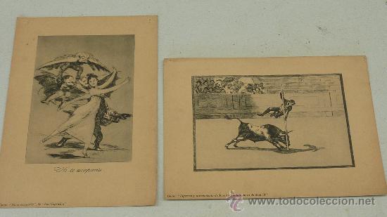 LOTE DE 2 LAMINAS DE CAPRICHOS DE GOYA. (Arte - Láminas Antiguas)