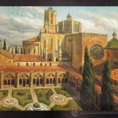 Arte: MINI LAMINA - ENMARCADA EN CARTULINA - CATEDRAL/ INTERIOR CLAUSTRE - TARRAGONA - AUT. RIERA- TGN. Lote 27375870