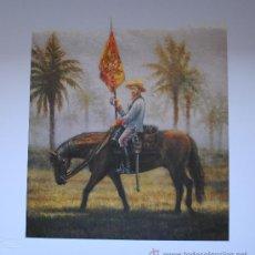 Arte: LAMINA DE CABALLERIA. PRECIOSA ESTAMPA DE UN ABANDERADO. REGIMIENTO DE VOLUNTARIOS DE JARUCO. CUBA.. Lote 200390858