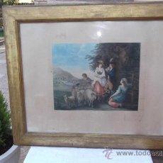 Arte: ANTIGUA LAMINA Y MARCO DORADO. Lote 28921264