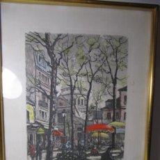 Arte: BONITA LAMINA DE MONTMARTRE, PARIS. PLACE DU TEATRE. FIRMADA.. Lote 29009896