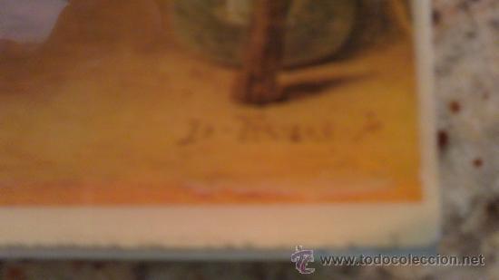 Arte: LAMINA,PLASTIFICADA,PEGADA;SOBRE PLACA DE ALUMINIO.(ORIGINAL DIBUJO,HOMBRES JUGANDO A LAS CAR - Foto 3 - 29116507