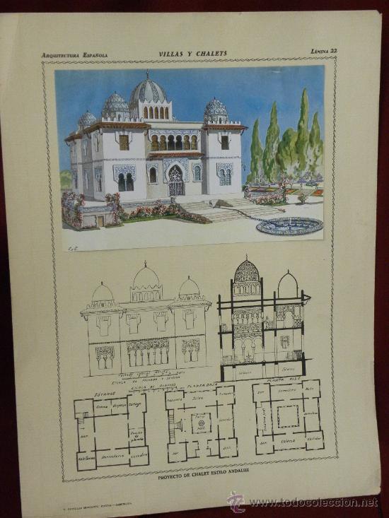 Arte: 5 Lamina Arquitectura antigua plano estilo Catalán,castellano montañés Andaluz Ed. Casellas Moncanut - Foto 2 - 29155648