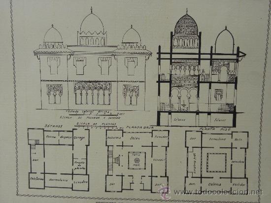 Arte: 5 Lamina Arquitectura antigua plano estilo Catalán,castellano montañés Andaluz Ed. Casellas Moncanut - Foto 4 - 29155648