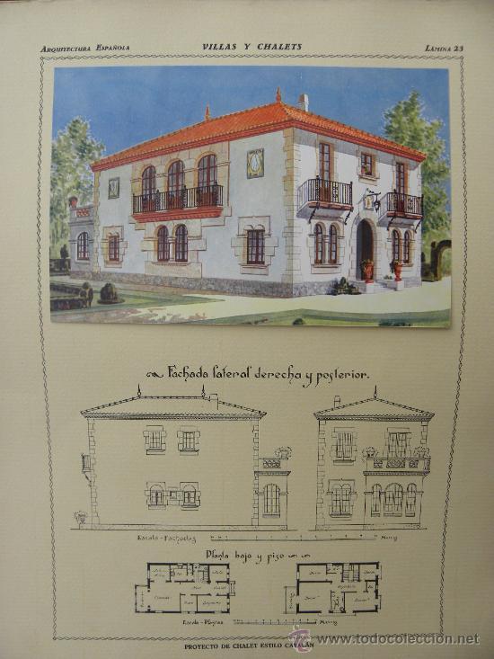 Arte: 5 Lamina Arquitectura antigua plano estilo Catalán,castellano montañés Andaluz Ed. Casellas Moncanut - Foto 8 - 29155648
