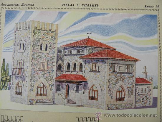Arte: 5 Lamina Arquitectura antigua plano estilo Catalán,castellano montañés Andaluz Ed. Casellas Moncanut - Foto 13 - 29155648