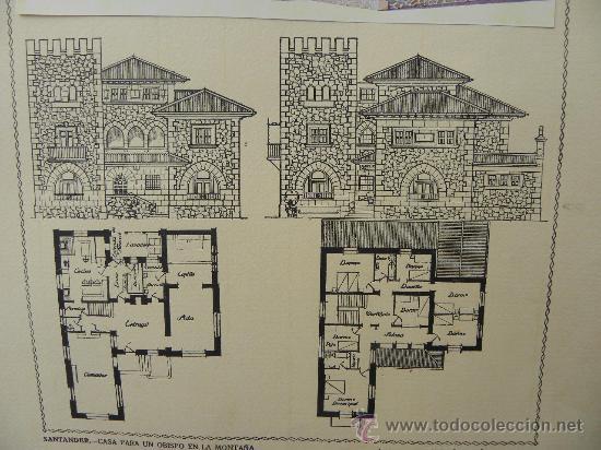 Arte: 5 Lamina Arquitectura antigua plano estilo Catalán,castellano montañés Andaluz Ed. Casellas Moncanut - Foto 14 - 29155648