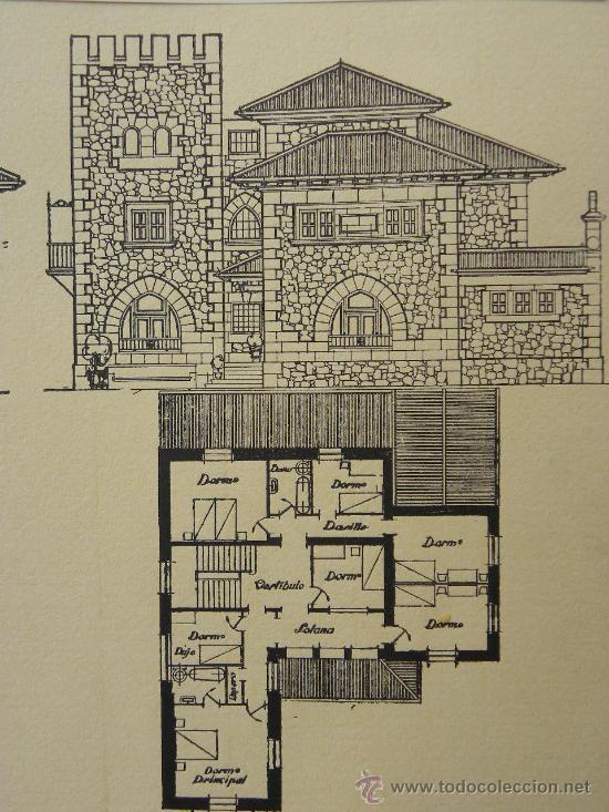 Arte: 5 Lamina Arquitectura antigua plano estilo Catalán,castellano montañés Andaluz Ed. Casellas Moncanut - Foto 15 - 29155648