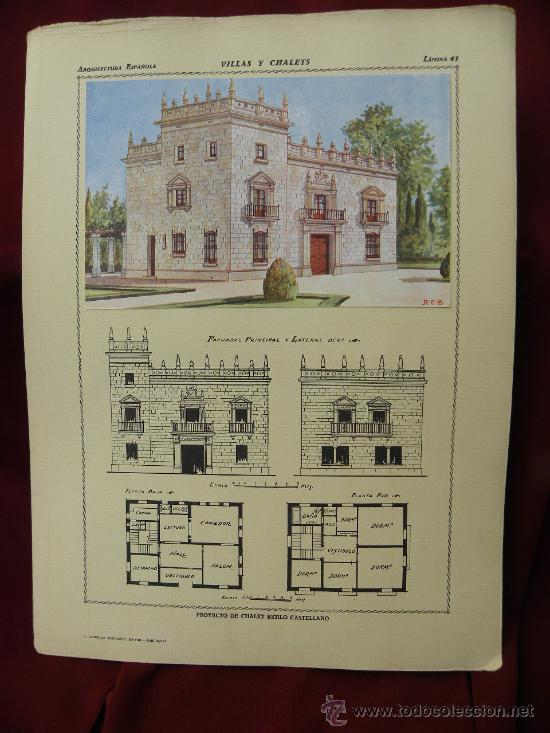 Arte: 5 Lamina Arquitectura antigua plano estilo Catalán,castellano montañés Andaluz Ed. Casellas Moncanut - Foto 18 - 29155648