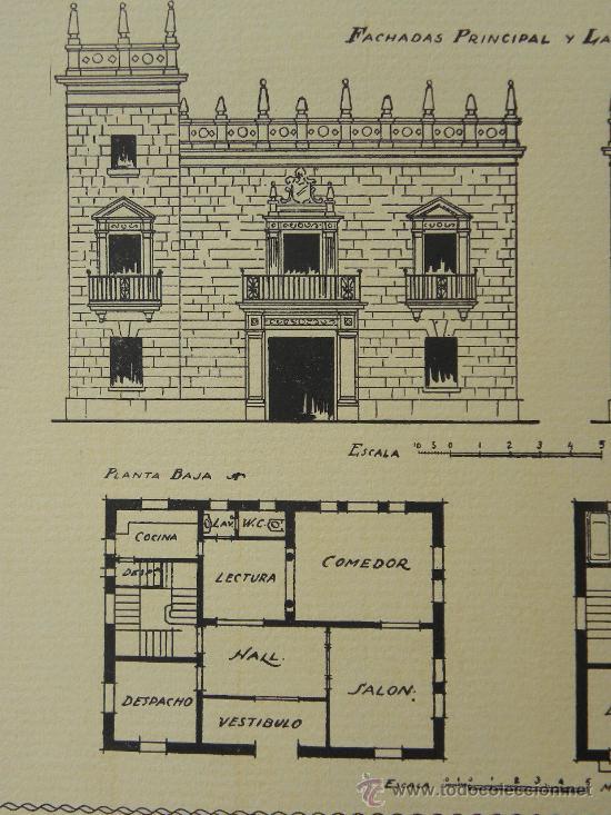 Arte: 5 Lamina Arquitectura antigua plano estilo Catalán,castellano montañés Andaluz Ed. Casellas Moncanut - Foto 20 - 29155648