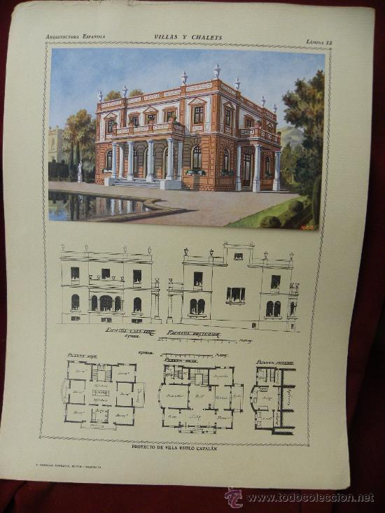 Arte: 5 Lamina Arquitectura antigua plano estilo Catalán,castellano montañés Andaluz Ed. Casellas Moncanut - Foto 22 - 29155648