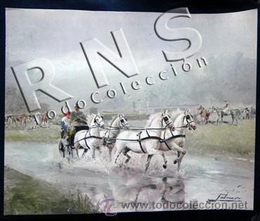 LÁMINA ¿ ANTIGUA ? DE PALMERO - PAISAJE COCHE DE CABALLOS - 32,5 X 40 CM - ARTE (Arte - Láminas Antiguas)