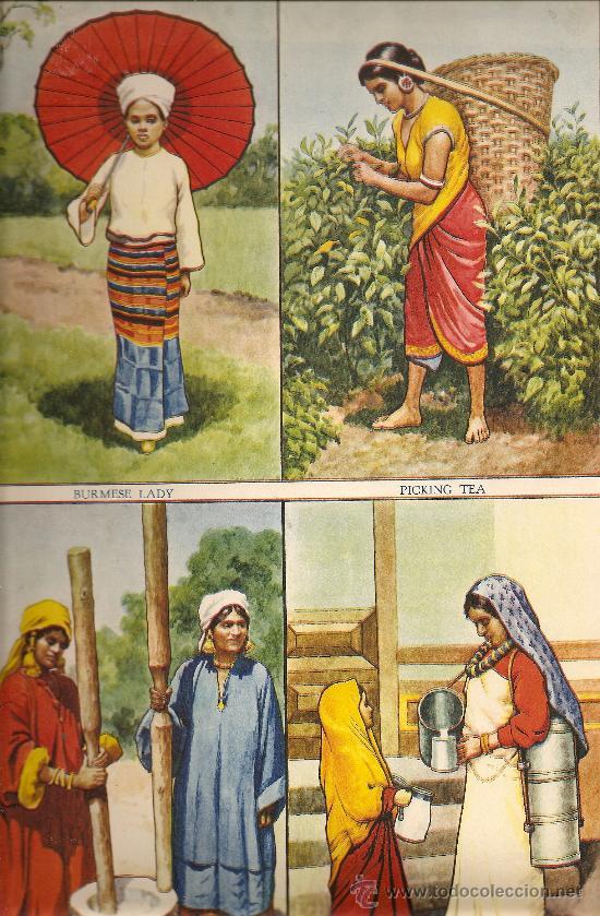 LAMINA INGLESA - CUATRO MUJERES INDIAS (Arte - Láminas Antiguas)
