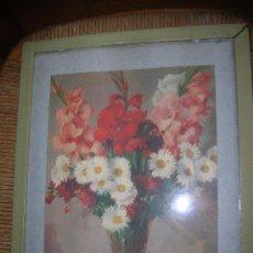 Arte: LÀMINA FLORES EN MARCO DE MADERA -AÑOS 40-. Lote 30205349