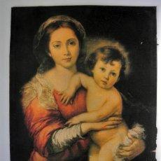 Arte: ANTIGUA LAMINA SOBRE CARTON VIRGEN CON NIÑO 39 CM X 29 CM. Lote 30922706