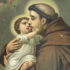 Arte: LAMINA SAN ANTONIO DE PADUA CON EL NIÑO JESÚS PRINC. S, XX. Lote 31370632