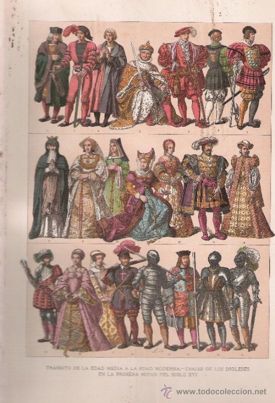 TRANSITO DE LA EDAD MEDIA A LA EDAD MODERNA.TRAJES DE LOS INGLESES EN LA PRIMERA MITAD DEL SIGLO XVI (Arte - Láminas Antiguas)