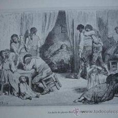 Arte: UN DUELO DE GITANOS EN TRIANA SEVILLA .DE 16X22 SOBRE LAMINA DE 30X42. Lote 31992597
