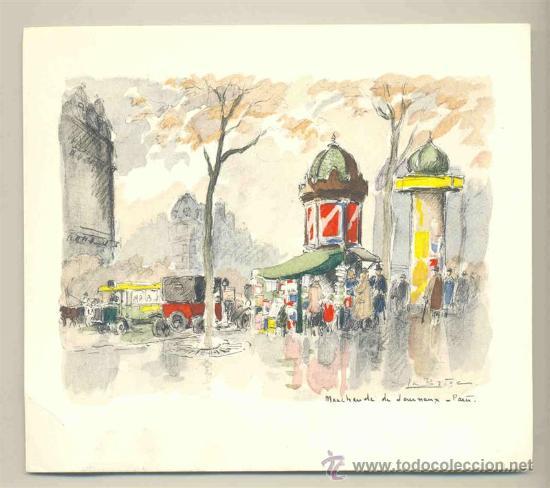 LAMINA ESTAMPADA .. PARIS - 1957 (Arte - Láminas Antiguas)