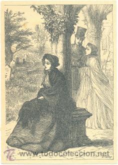 LAMINA ESTAMPADA .. MUJER SENTADA .. FIRMA P. GRAY (Arte - Láminas Antiguas)