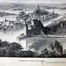 Arte: LAMINA, LAMINA ANTIGUA, ALEMANIA, PASSAU, 22 X 32 CM. Lote 34487965