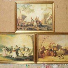 Arte: 3 LÁMINAS DE GOYA. 28 X 21,5 CM. ENMARCADAS. CUADROS.CUADRO. . Lote 33799563