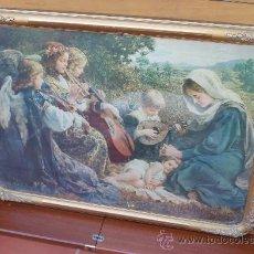 Arte: ANTIGUA LAMINA CON MAGNIFICO MARCO REPRESENTANDO UNA ESCENA RELIGIOSA EN EL CAMPO. Lote 81764972