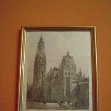 Arte: FACHADA Y TORRE DE LA CATEDRAL DE TOLEDO POR VILLAAMIL . Lote 34924704