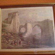 Arte: PUENTE DE SAN MARTIN EN TOLEDO POR VILLAAMIL . Lote 34924772