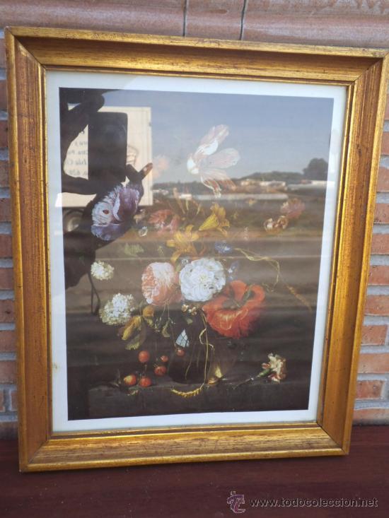 LAMINA FLORES CON MARCO DORADO (Arte - Láminas Antiguas)