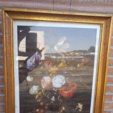Arte: LAMINA FLORES CON MARCO DORADO. Lote 35002464