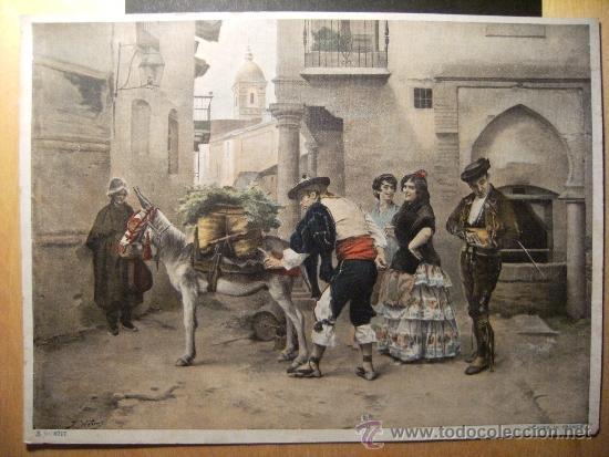 LOTE 5 LÁMINAS ANTIGUAS. COPIAS DE CUADROS FAMOSOS. (Arte - Láminas Antiguas)