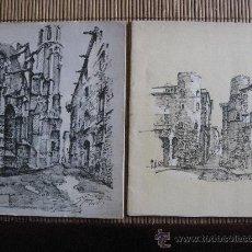 Arte: 2 CARPETAS DE 11 DIBUJOS DE LUIS REÑE SOBRE LA BARCELONA HISTORICA. 1959. Lote 35361274