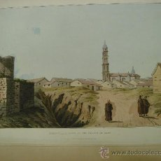 Arte: LÁMINA COLOREADA AL AGUATINTA. ALIEJOS-A TOWN IN THE PLAINS OF LEON (MAY,5,1809) . Lote 35406595