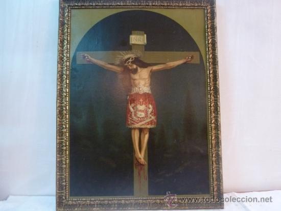 ANTIGUA LAMINA CARTON ENMARCADA SANTO CRISTO DE MANACOR (Arte - Láminas Antiguas)