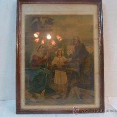Arte: ANTIGUA LAMINA CARTON ENMARCADA SAGRADA FAMILIA. Lote 35553786