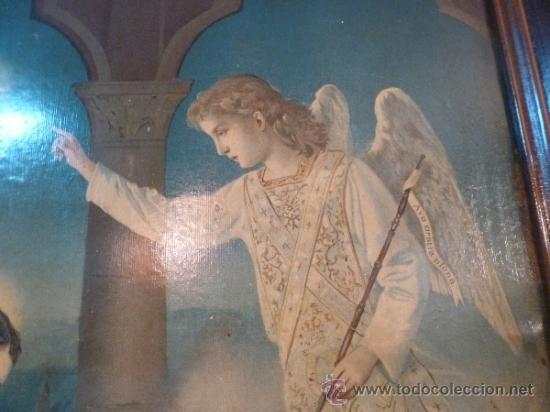 Arte: antigua lamina carton enmarcada anunciacion - Foto 4 - 35552878