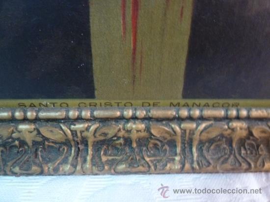 Arte: antigua lamina carton enmarcada santo cristo de manacor - Foto 9 - 35552625