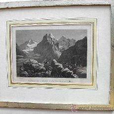 Arte: CUADRO CON LAMINA PAISAJE. MARCO DE MADERA PLATEADA.. Lote 58275733